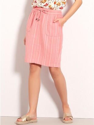 M&Co Petite stripe linen skirt
