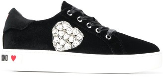 Love Moschino Crystal Heart-Embellished Sneakers