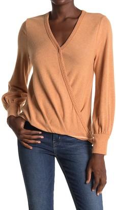 ALL IN FAVOR Surplice Puff Sleeve Sweater