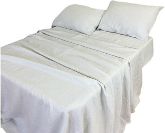 Superior Custom Linens Linen Stone Gray and White Striped Bed Sheet Set, King