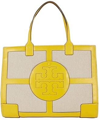 Tory Burch Ella Canvas Quadrant Tote (Limone) Handbags