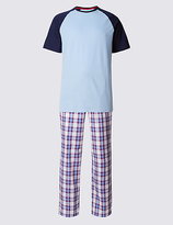 M&s Collection Pure Cotton Stay Soft Checked Pyjamas