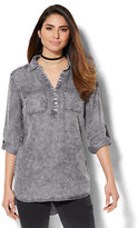 New York & Co. Soho Soft Shirt - Side-Button Hi-Lo Tunic - Grey Wash