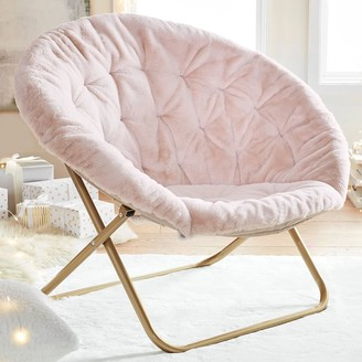 Pottery Barn Teen Recycled Blend Faux-Fur Blush Hang-A-Round Chair