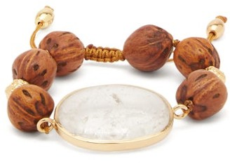 Tohum Theia Crystal, Wood & 24kt Gold-plated Bracelet - Brown