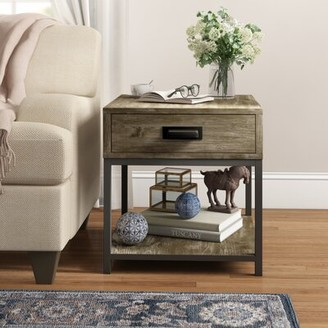 Three Posts Upson End Table with Storage