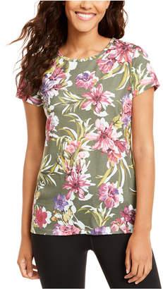 Ideology Floral-Print Keyhole-Back T-Shirt
