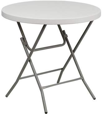 Advantage 32 in. Round White Plastic Folding Table (5 Pack)