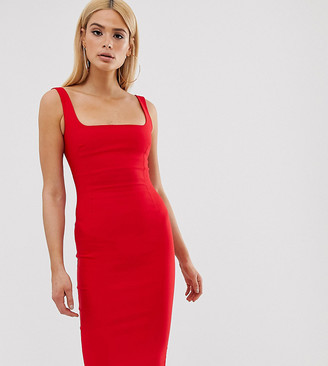 Vesper Tall square neck pencil dress in red
