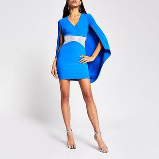 River Island Blue diamante V neck cape mini dress