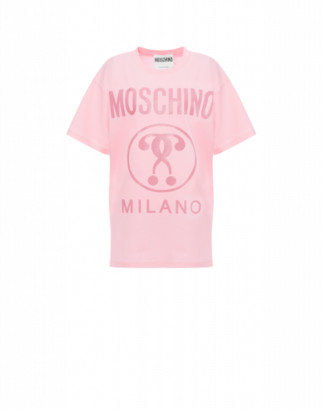 Moschino Double Question Mark Jersey T-shirt Woman Pink Size L It