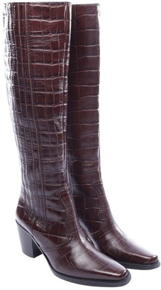 Ganni Brown Leather Boots