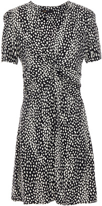Maje Ripi Twist-front Cupro-blend Leopard-jacquard Mini Dress