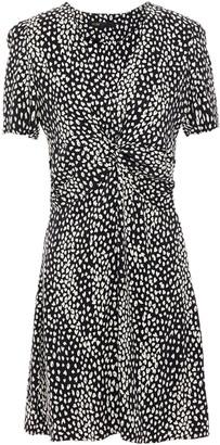 Maje Ripi Twist-front Cupro-blend Leopard-jacquard Mini Dress