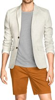 uxcell Allegra K Man Notched Lapel Padded Shoulders Two-Button Placket Blazer Ivory L