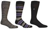 Polo Ralph Lauren Big & Tall Super Soft Stripe Crew Dress Socks 3-Pack