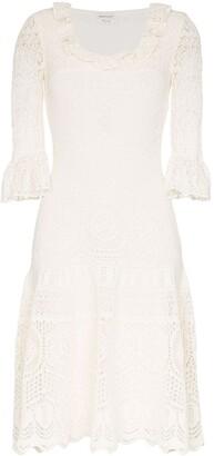 Alexander McQueen crochet frill fit and flare dress