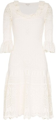 Alexander McQueen Crochet Frill Fit And Flare Dress