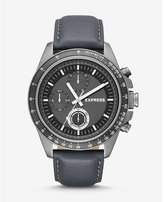 Express multifunction gray leather strap watch