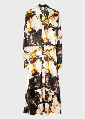 Women's 'Orchid' Print Silk Satin Shirt Dress