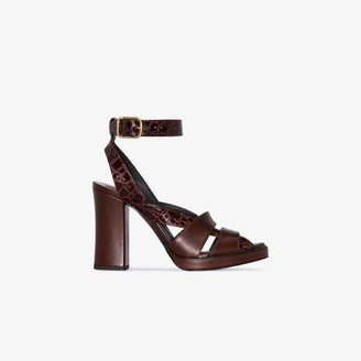 Chloé brown 90 platform leather sandals