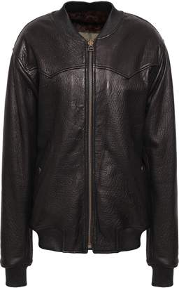 Mr & Mrs Italy Textured-leather Bomber Jacket