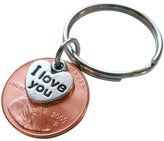 JewelryEveryday I Love You Heart Charm Layered over 2005 Penny Keychain, Anniversary Gift