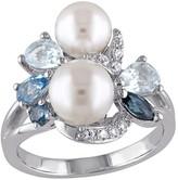 Sterling Blue Multi-Gemstone & Cultured Pearl Cluster Ring