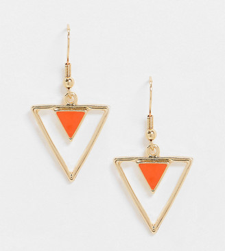 Glamorous Exclusive triangle earrings with enamel drop in gold