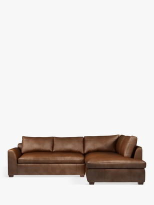 John Lewis & Partners Tortona RHF Chaise End Leather Sofa, Dark Leg