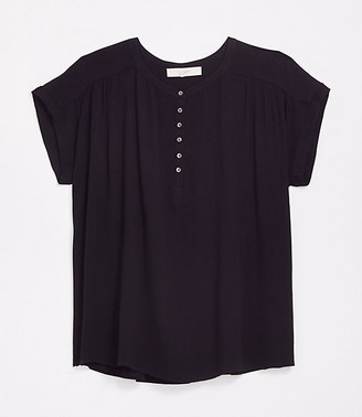 LOFT Plus Henley Mixed Media Top