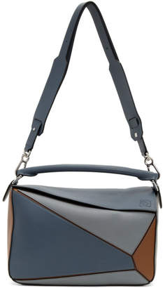 Loewe Blue and Tan Large Puzzle Bag