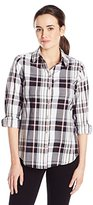 Foxcroft Women's Roll Tab Button Front Plaid Blouse