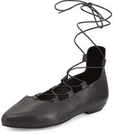Eileen Fisher Loop Pointed-Toe Lace-Up Flat, Black