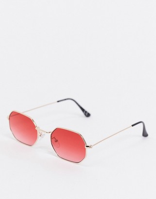 ASOS DESIGN square sunglasses in gold with red lens