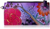 Anuschka Anna By Handpainted Leather Organizer Wallet, Floral Safari Purple Credit Card Holder
