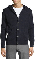 Isaia Cashmere Donegal Hooded Cardigan, Navy