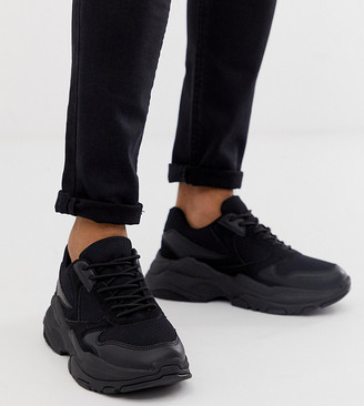 ASOS DESIGN Wide Fit trainers in black mix with chunky sole