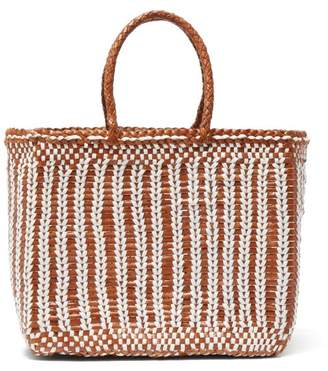 Dragon Optical Diffusion - Cannage Woven Leather Tote Bag - Womens - Tan White
