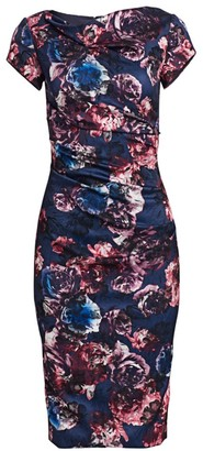 Theia Short-Sleeve Ruched Floral Sheath