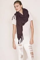 LoveQuotes Scarves Love Quotes Rayon Knotted Fringe Scarf in Truffle