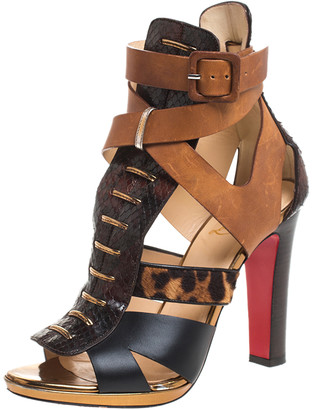Christian Louboutin Multicolor Python Leather, Pony Hair And Leather Keny Ankle Strap Sandals Size 37.5