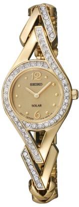 Seiko Womens Goldtone Crystal-Accented Solar-Powered Bracelet Watch