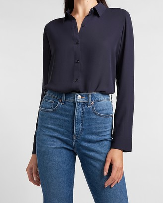 Express Padded Shoulder Button-Up Shirt