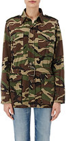 Saint Laurent Women's Camouflage Belted Field Jacket-DARK GREEN