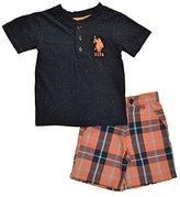 U.S. Polo Assn. Little Boys Navy Spotted Top 2pc Plaid Short Set