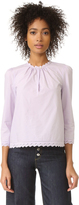 Rebecca Taylor Long Sleeve Pop Top with Eyelet Detail