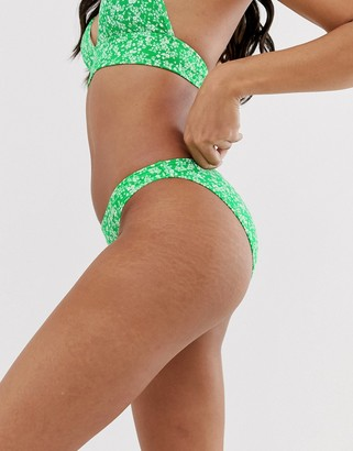 New Look hipster bikini pant in green floral ditsy print