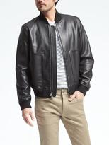 Banana Republic Black Leather Bomber Jacket