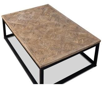 """Sarreid Ltd. Parquet Low Table, Dark Brown, 48 X 32 Size: 15"""" H x 48"""" L x 32"""" W, Color: Light Wash Coat"""